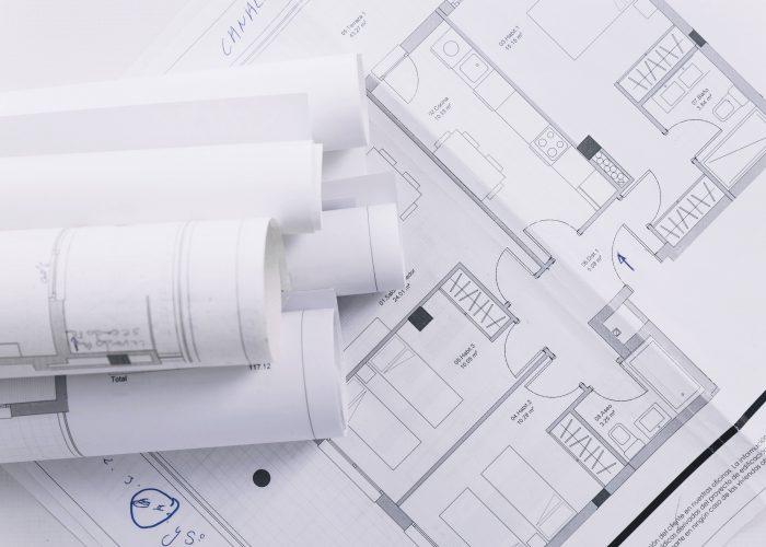 Plans d'étude de faisabilité de projets architecturaux